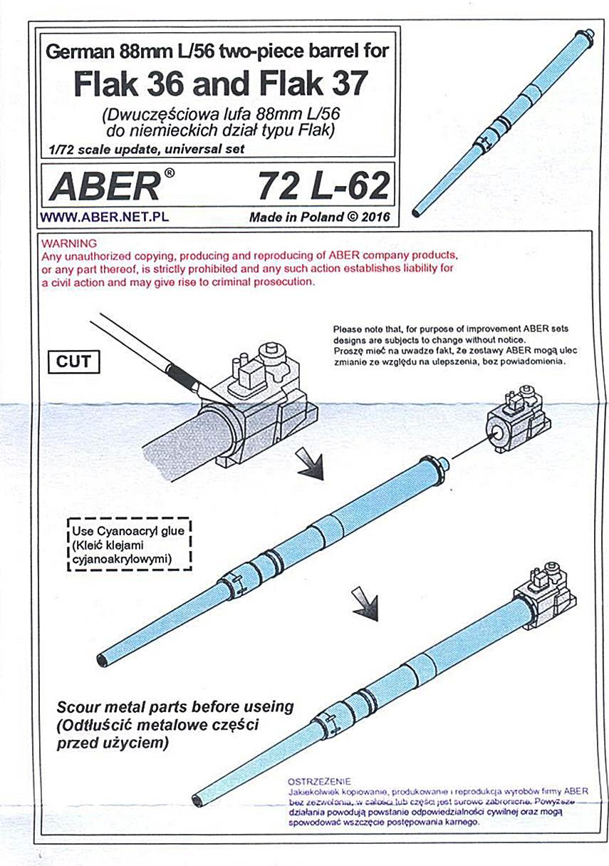 1//72 ABER 72 L-63 German 88mm L//56 single-piece barrel for Flak 36 and Flak 37