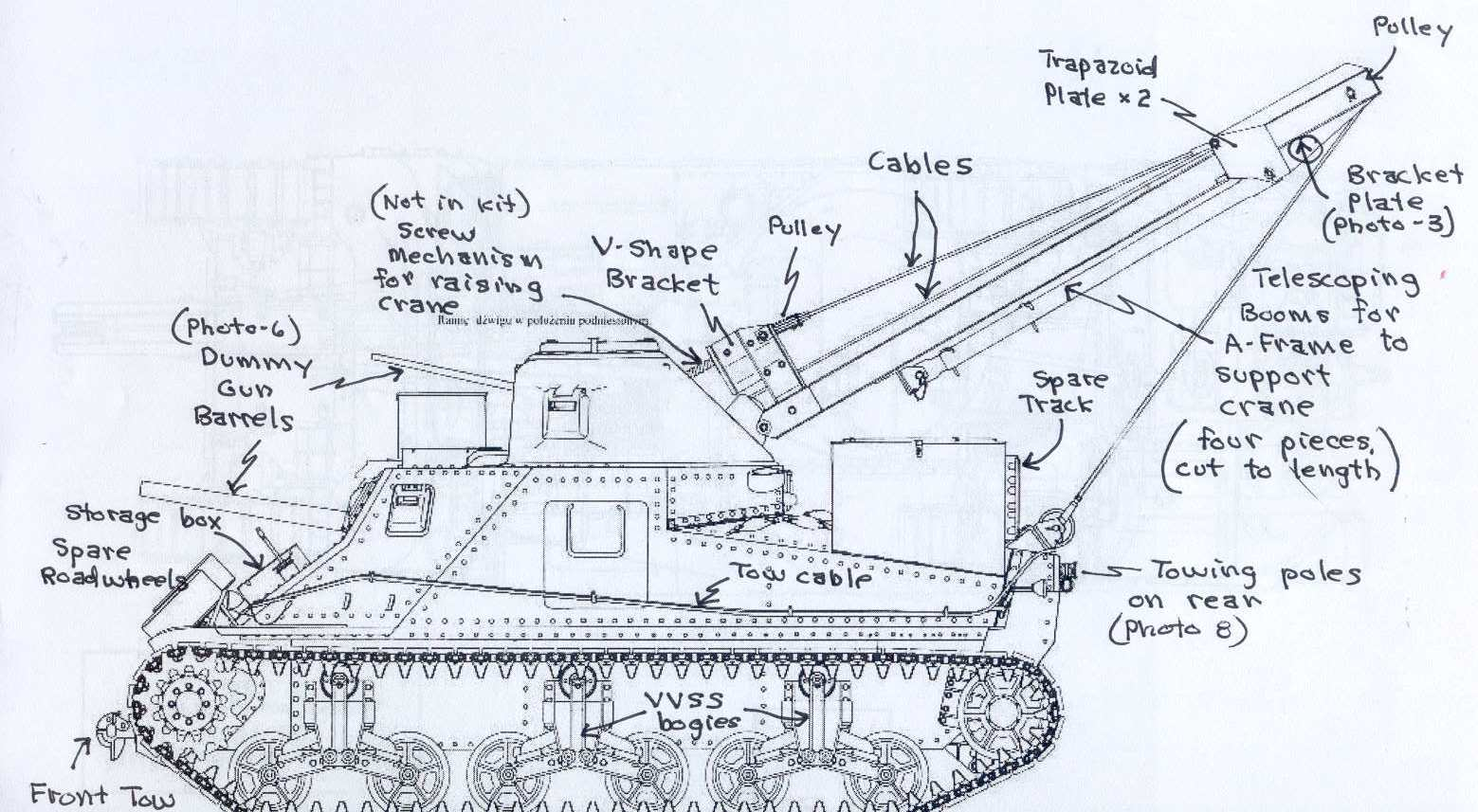 Iron Division Ii M31 Armored Recovery Vehicle Kit No 72016 72021 Bridge Labeled Parts Diagram
