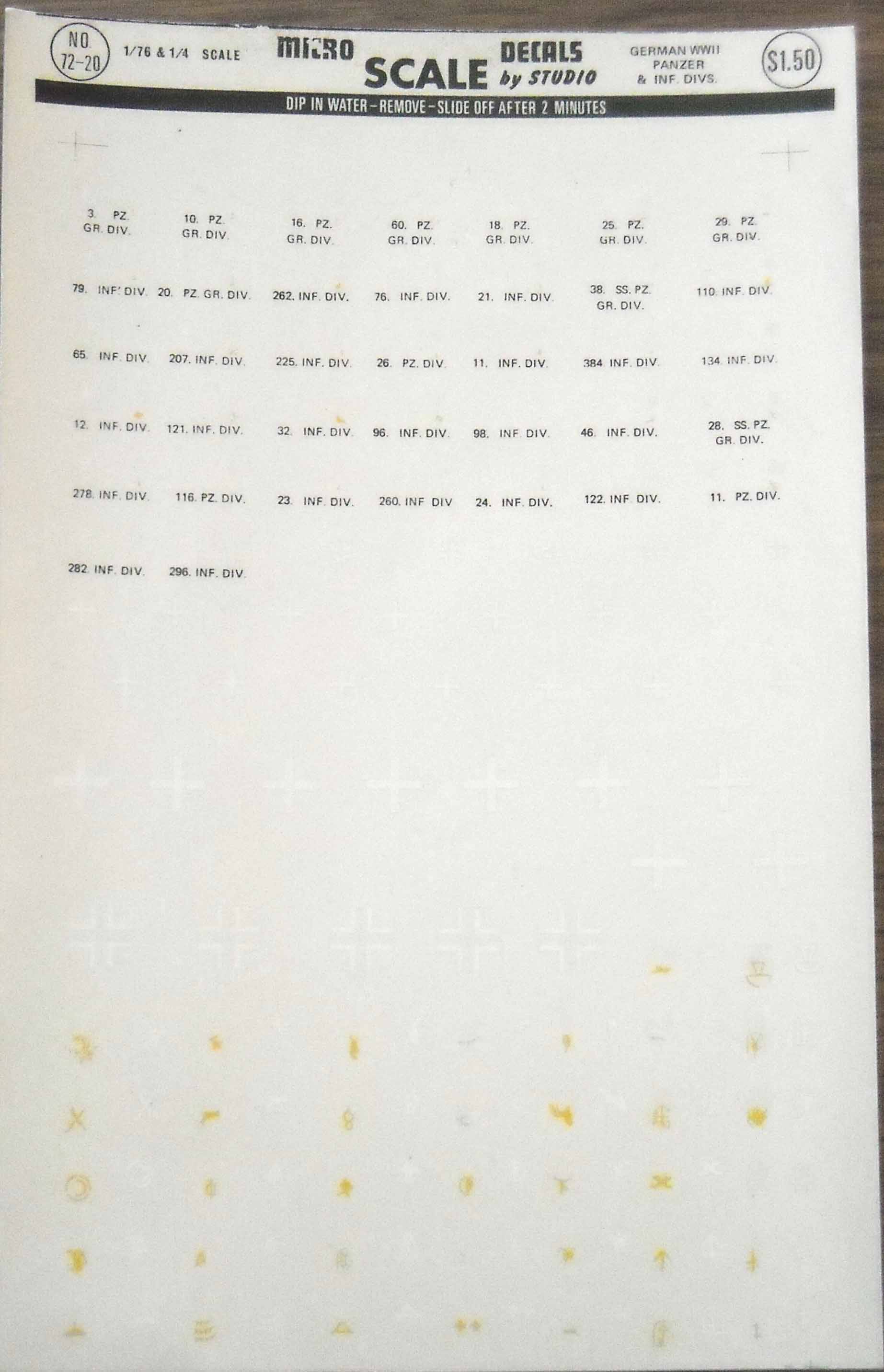 Microscale Decal #13-12 Armor German Armor Division Markings and Numbers WWII
