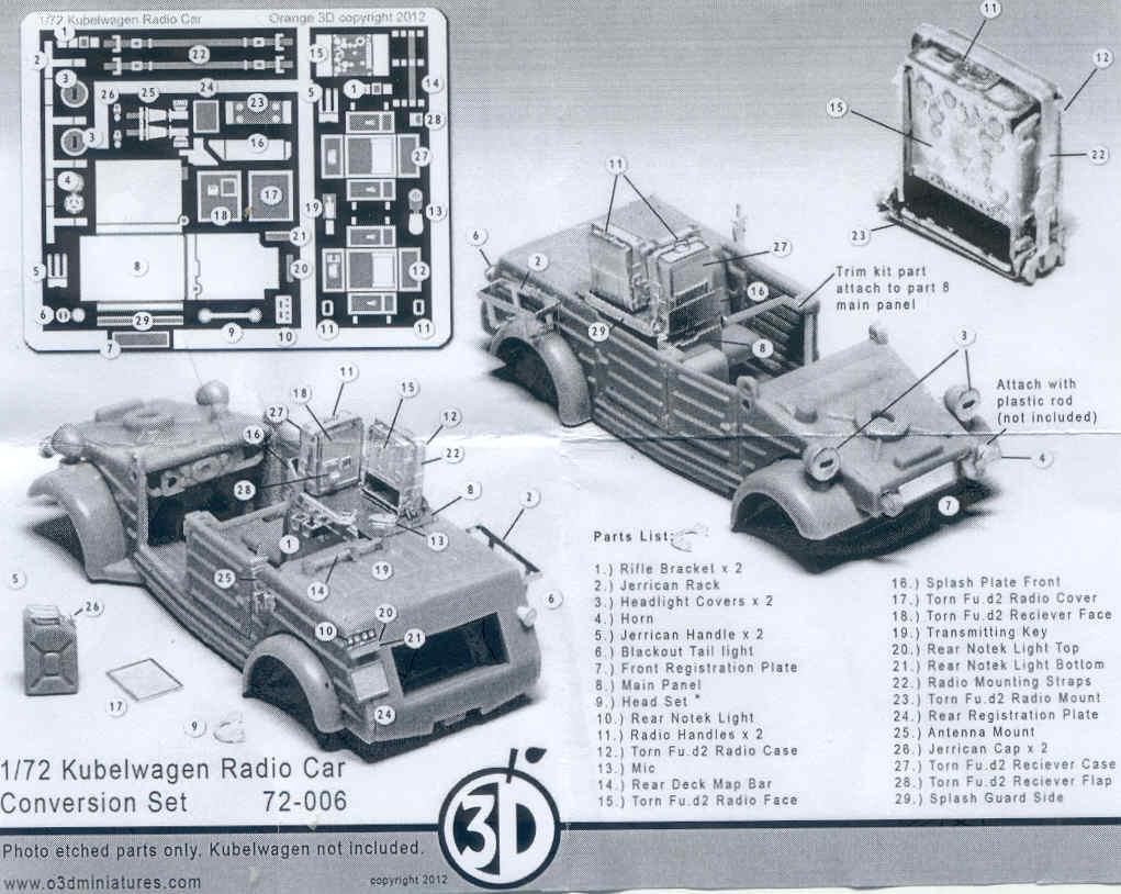 orange 3D miniatures, Kubelwagen Radio Car Conversion Set , Kit No
