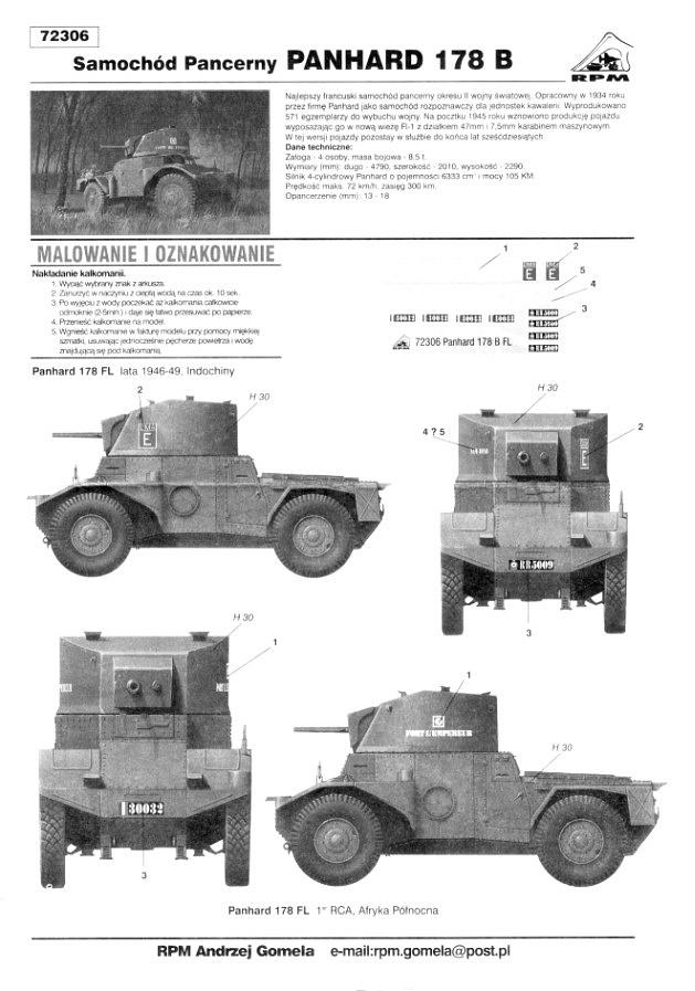 RPM, Panhard 178 series, Kit Nos. 72300, 72301, 72302 ...