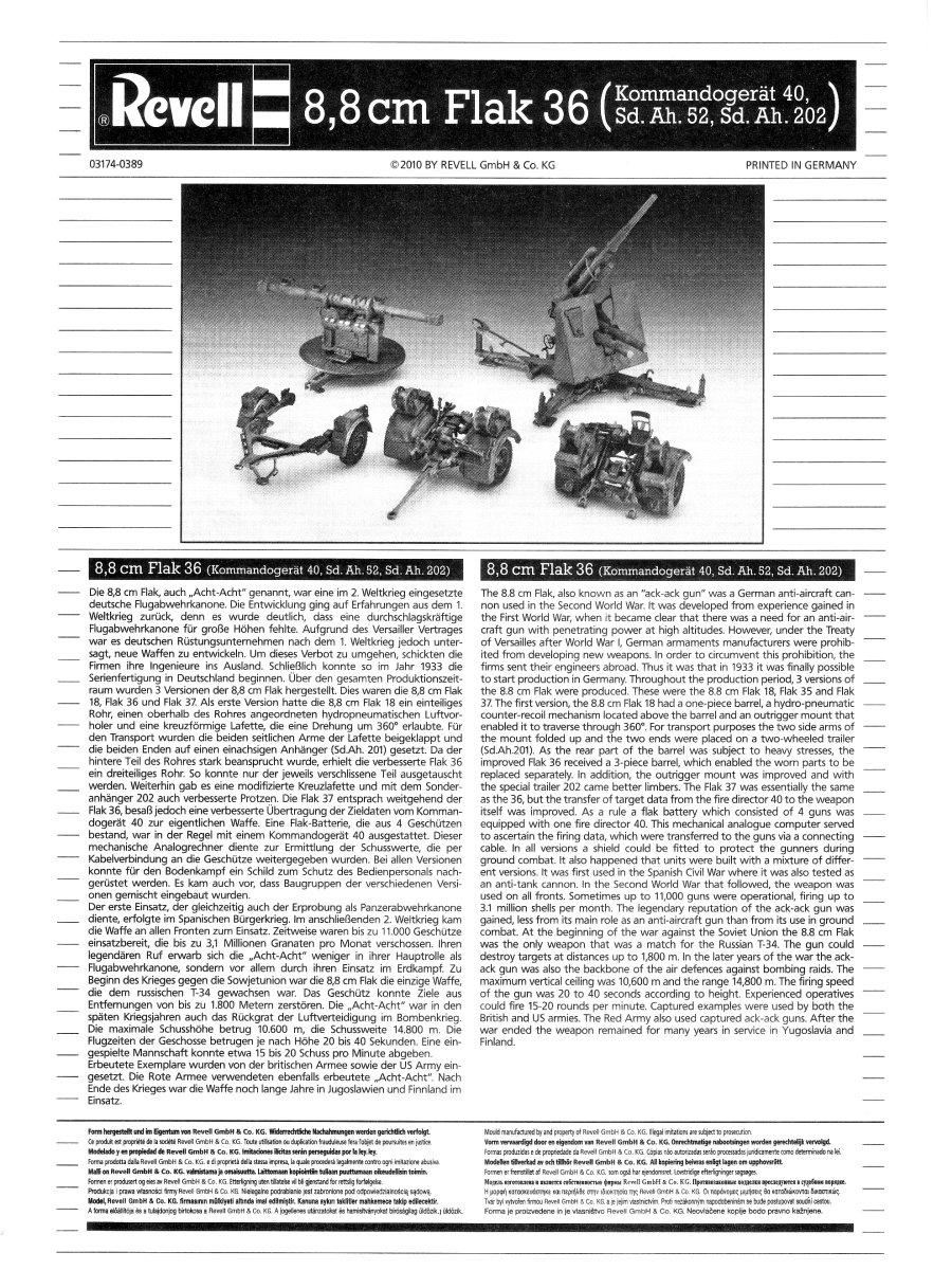 Revell, 8,8cm Flak 36, Kit No  03174
